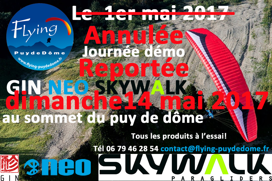 journee demo flying puy de dome neo gin skywalk 14 mai 2017