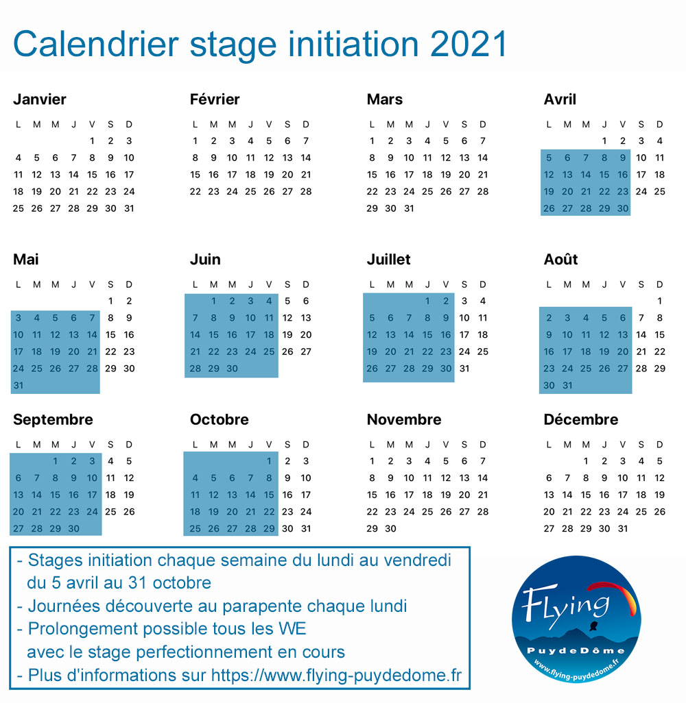 Calendrier stage initiation 20214 FPDD