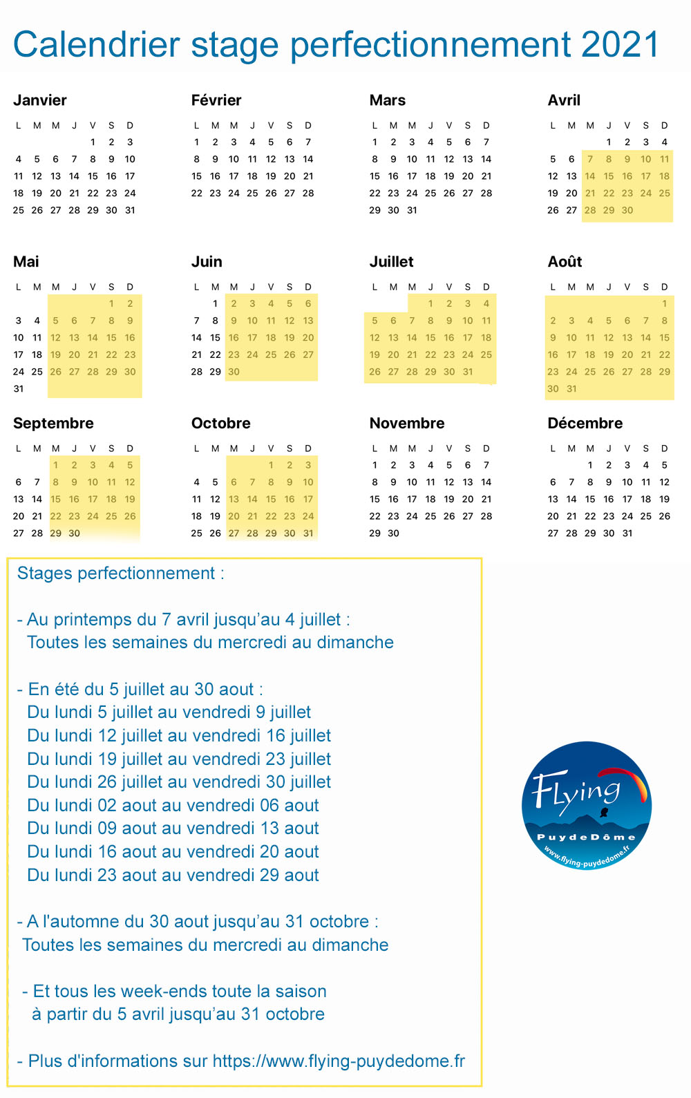 Calendrier stage perfectionnement 2021 FPDD